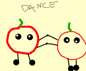 Apples at a Dance disco party
