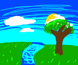A tree, river, few clouds and a blue sky