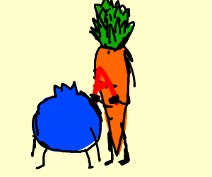 Blueberry in front of carrot who is holding A