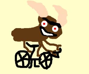 moose angrily riding bike