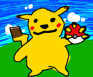Pikachu with a poke ball