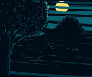 Tree views moonlit landscape through blinds
