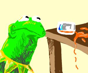 Kermit spilled his juice