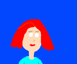Redhead with eyes that are empty with a dot
