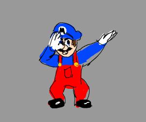 Blue Mario dabbing.