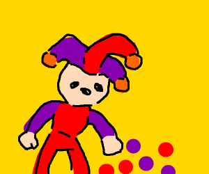 The jester dropped his juggling balls.