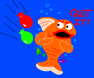 Person throwing water balloons at angry fish