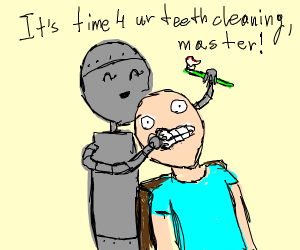 Robot ready to brush his master's teeth