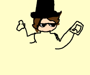 guy with top hat, fidget spinner and phone