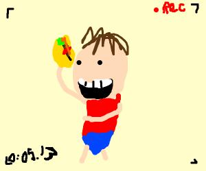 man recording himself eating taco