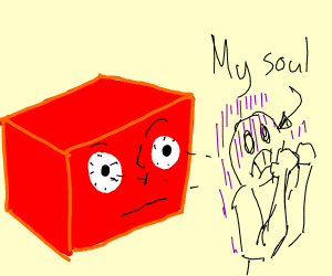 Red 3D box stares into your soul