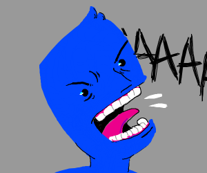 blue man scrEAMING