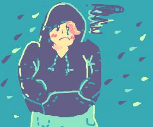 Sad boy in a hoodie