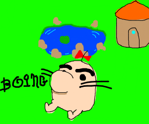 A strange pig man says boing by a pond