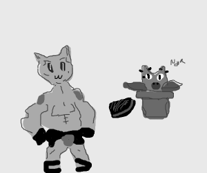 Kitty's Stand (also a cat) eats a steak