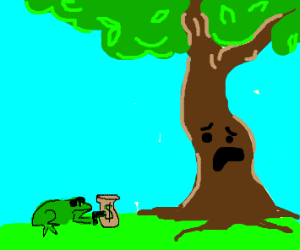 Tree being mugged by frog
