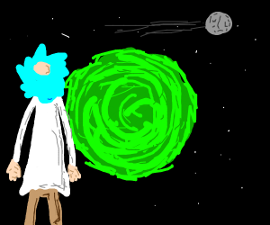 rick from rick and morty looking into portal