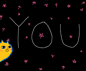 yellow blushing cat in front of you in space