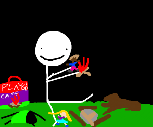 a child playing with camping toys