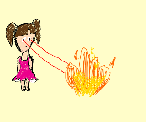 Girls set fire with laser eyes