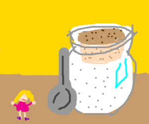 Girl and giant pot of sugar