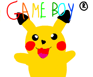 Pikachu playing Gameboy