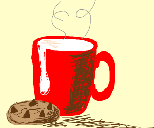 warm milk with chocolate chip cookie