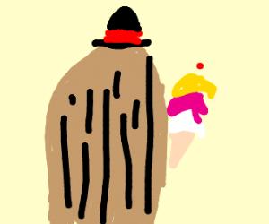Cousin It eating ice cream