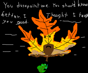 Papa leaf scolds his little son until he cry