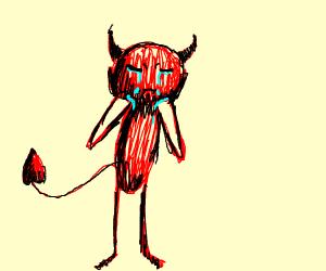 Satan crying