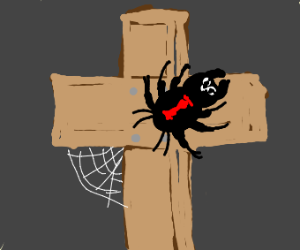 Deadly spider on a cross