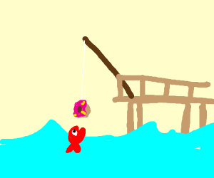 Fishing using donut as bait