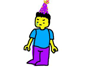 Sad lego man wearing party hat