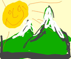 Green mountains and happy sun