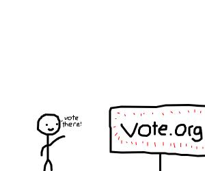 man telling people to vote at vote.org