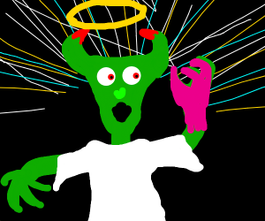 A green angel devil hyrid thinks hes pink