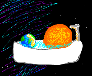 Bath time with sun and earth