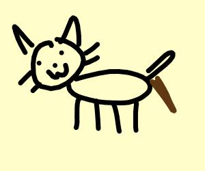 Cat doing a poo