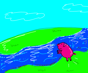 Pig going to jump in the water