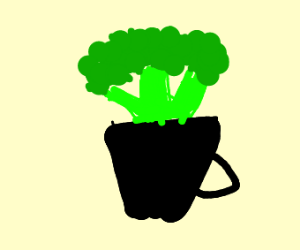 Broccoli growing out of a cup