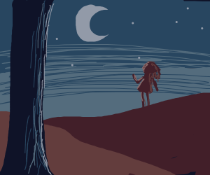 Girl staring up at the moon on hill
