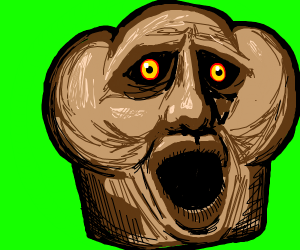 Muffin with a disturbing human face