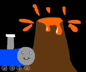 thomas the train with erupting volcano