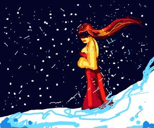 A woman in a dress walks through the snow
