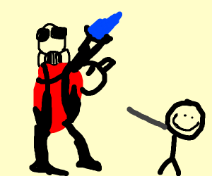 Stickman with grey arm smiles at pyro from tf