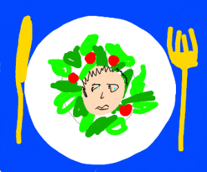 Human head in a salad