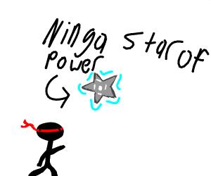ninja throwing the shrunken of power