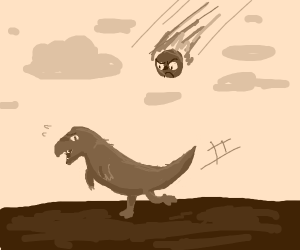 Dinosaur running from an angry meteor