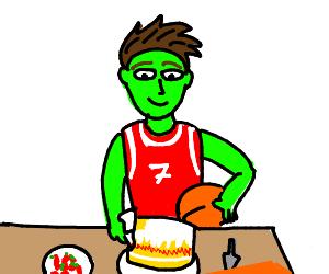 green skinned basketball player making cake