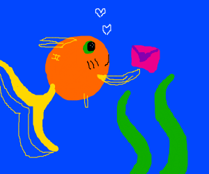 Fish giving love letter